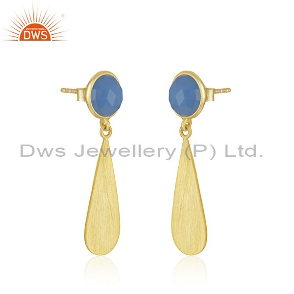 Exporter Hanmdade 18k Gold Plated Silver Blue Chalcedony Gemstone Earrings Jewelry
