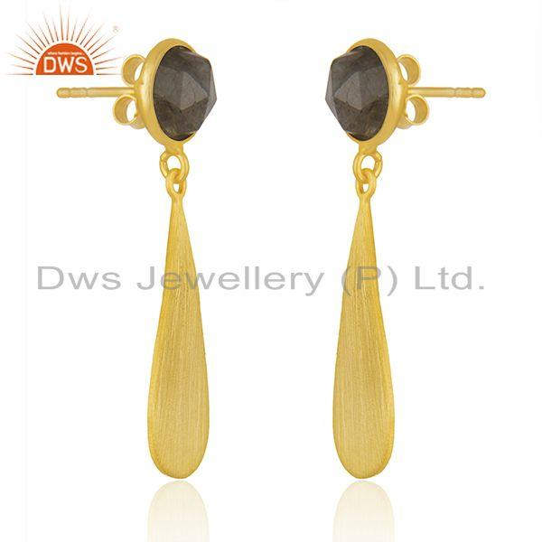 Exporter Yellow Gold Plated 925 Silver Labradorite Gemstone Earrings Jewelry