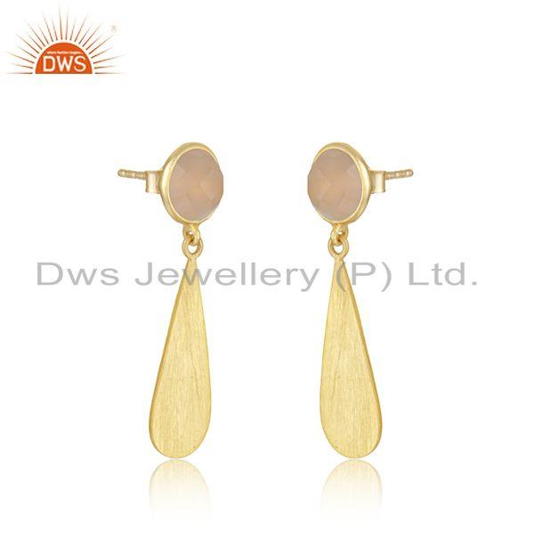 Exporter Rose Chalcedony Gemstone Gold Plated Silver Earring Jewelry Manufacturer