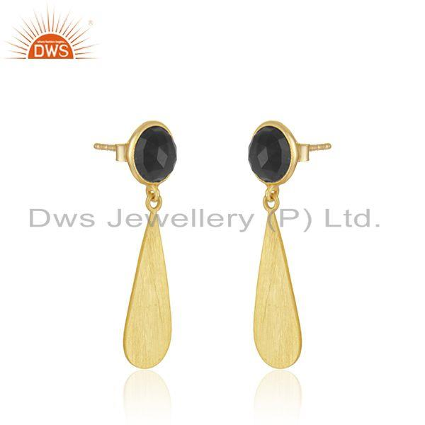 Exporter 18k Gold Plated 92.5 Silver Black Onyx Gemstone Earrings Jewelry