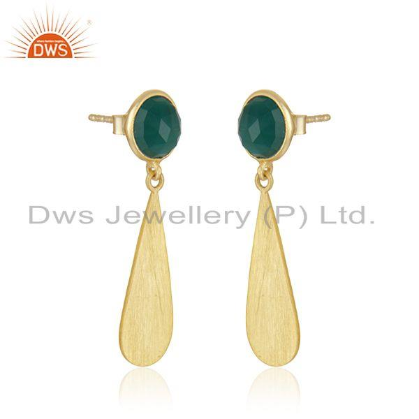 Exporter Green Onyx Gemstone 14k Gold Plated Silver Earrings Jewelry