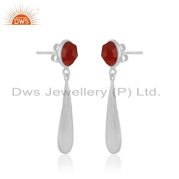Exporter Red Onyx Gemstone 925 Sterling Silver Handamde Earrings Manufacturer INdia