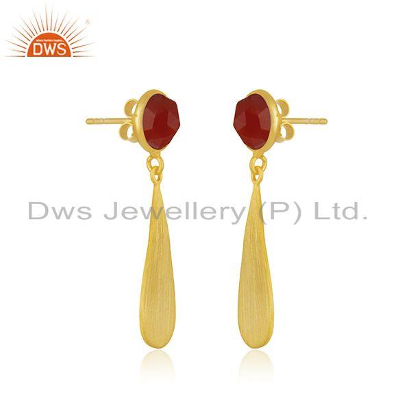 Exporter Red Onyx Gemstone 925 Silver Gold Plated Earrings Jewelry Manufacturer