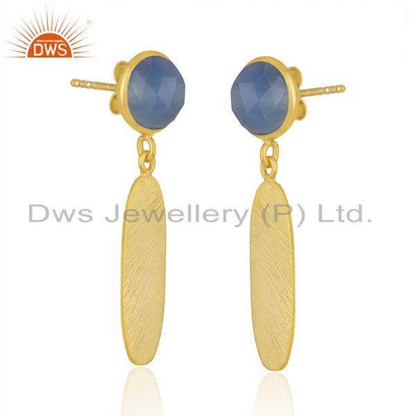 Exporter Handmade Gold Plated Silver Blue Chalcedony Earrings Jewelry