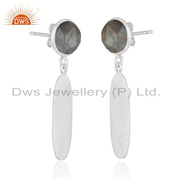 Exporter Texture Sterling Silver Natural Labradorite Gemstone Earrings Jewelry