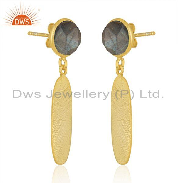 Exporter Designer Gold Plated 925 Silver Labradorite Gemstone Earrings Jewelry