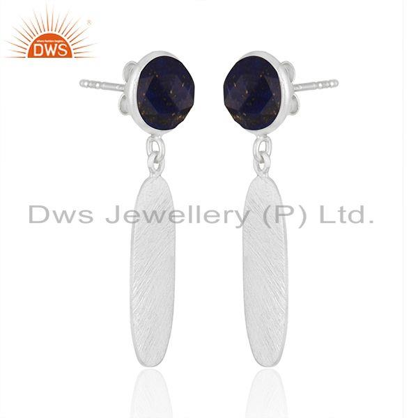 Exporter New Arrival Sterling Silver Natural Lapis Gemstone Earrings Jewelry