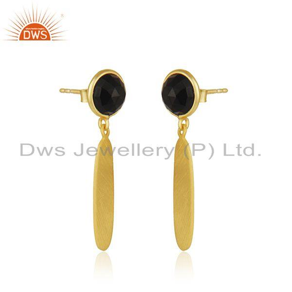 Exporter 18k Gold Plated 925 Silver Black Onyx Gemstone Earrings Jewelry Manufacturer