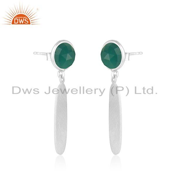 Exporter 925 Sterling Silver Natural Green Onyx Gemstone Earrings Jewelry Manufacturer