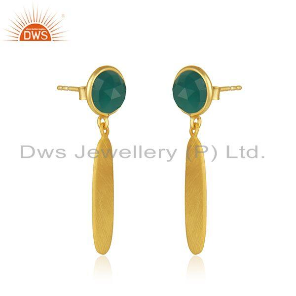 Exporter New Designer Gold Plated Silver Green Onyx Earrings Jewelry