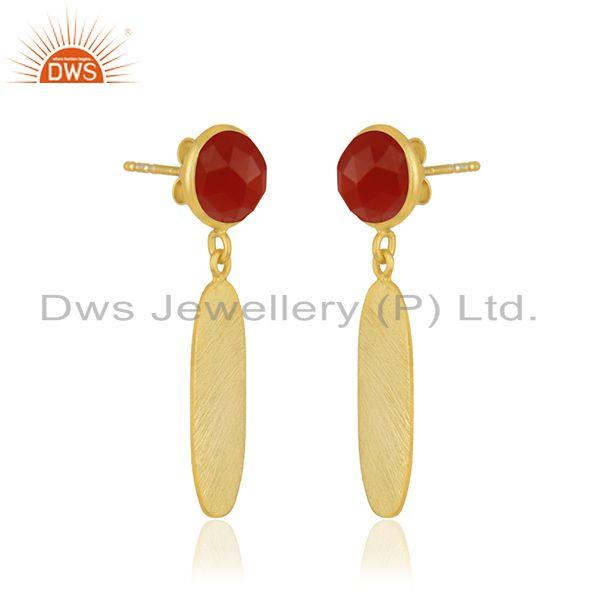 Exporter Red Onyx Gemstone 925 Sterling Silver Gold Plated Earring Jewelry Wholesale