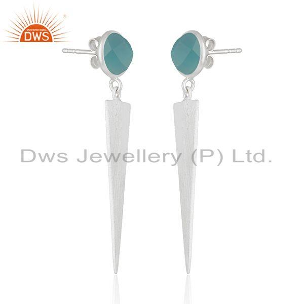 Exporter Wholesale Fine Silver Designer Aqua Chalcedony Earrings Jewelry Supplier