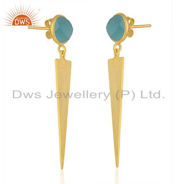 Exporter 18 Gold Plated Designer Silver Aqua Chalcedony Earrings Jewelry