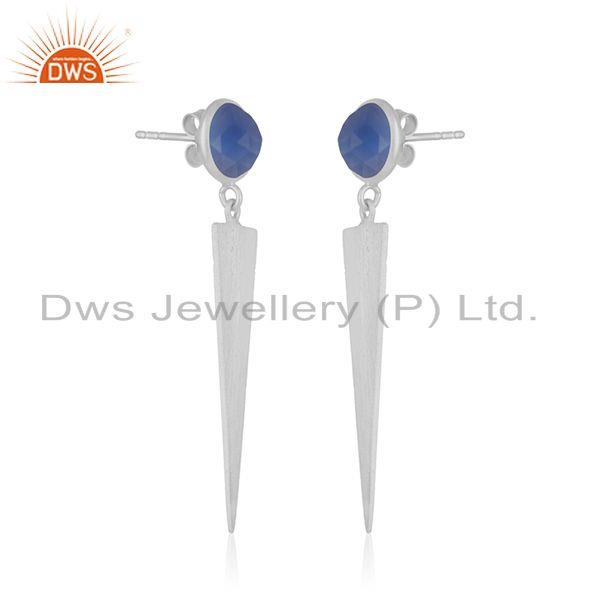 Exporter Blue Chalcedony Gemstone Fine Sterling Silver Earring Manufacturer India