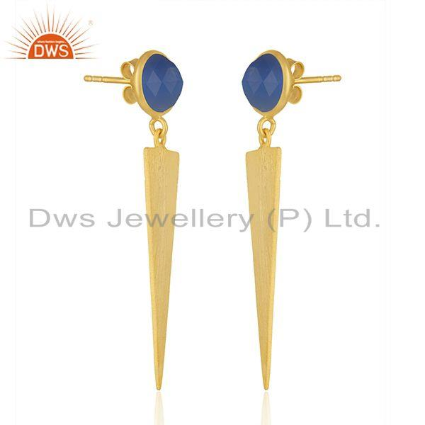 Exporter Natural Blue Chalcedony Gemstone Gold Plated Silver Earrings Jewelry