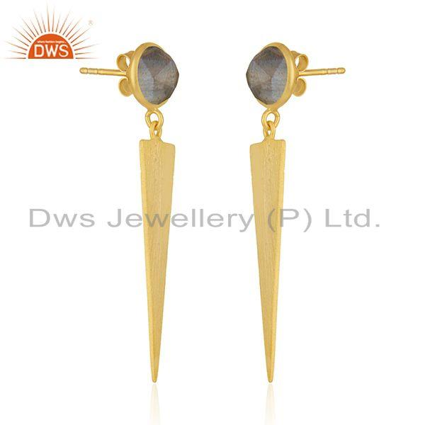 Exporter Labradorite Gemstone 14k Gold Plated Silver Earrings Jewelry Manufacturer