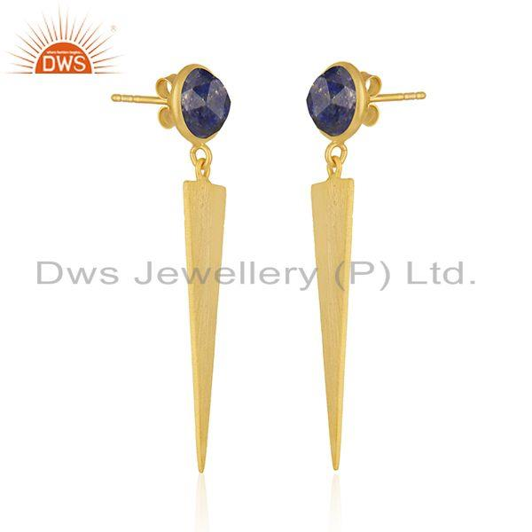 Exporter Designer Gold Plated 925 Silver Lapis Gemstone Earrings Jewelry Wholesale