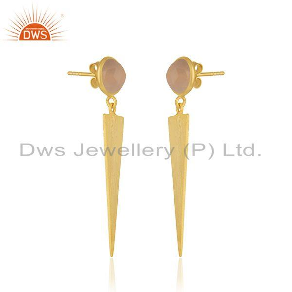 Exporter Rose Chalcedony Gemstone 925 Sterling Silver Gold Plated Earring Manufacturer