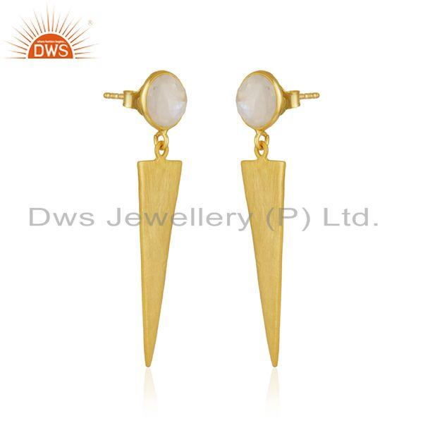 Exporter New Arrival 18k Gold Plated Silver Rainbow Moonstone Earrings Jewelry