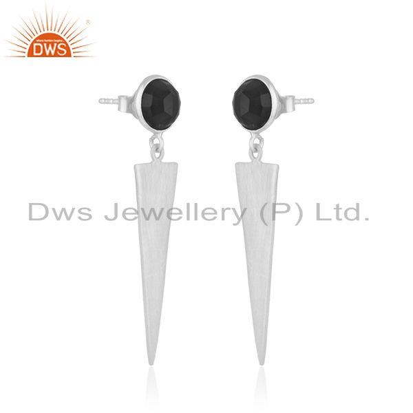 Exporter New Designer Fine Silver Natural Black Onyx Earrings Jewelry