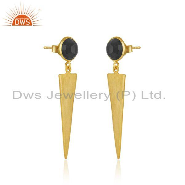 Exporter Black Onyx Gemstone Designer Silver Gold Plated Earrings Jewelry Supplier