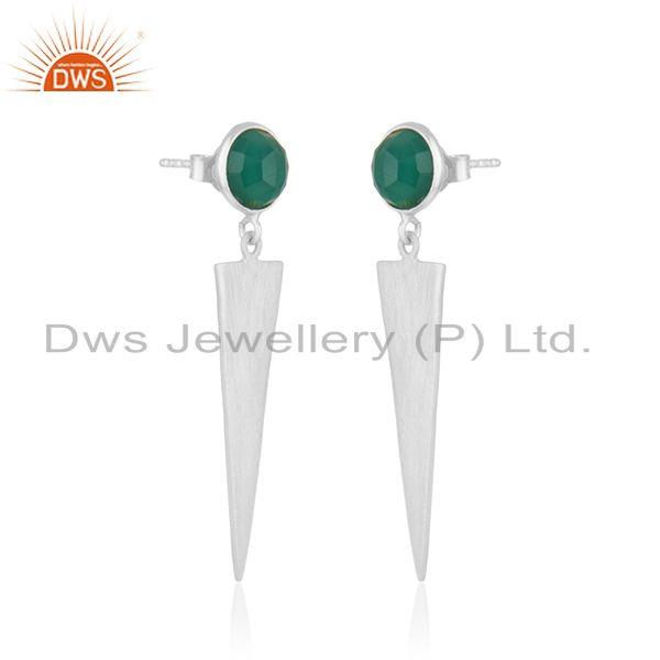 Exporter Handmade 925 Silver Natural Green Onyx Gemstone Earrings Jewelry
