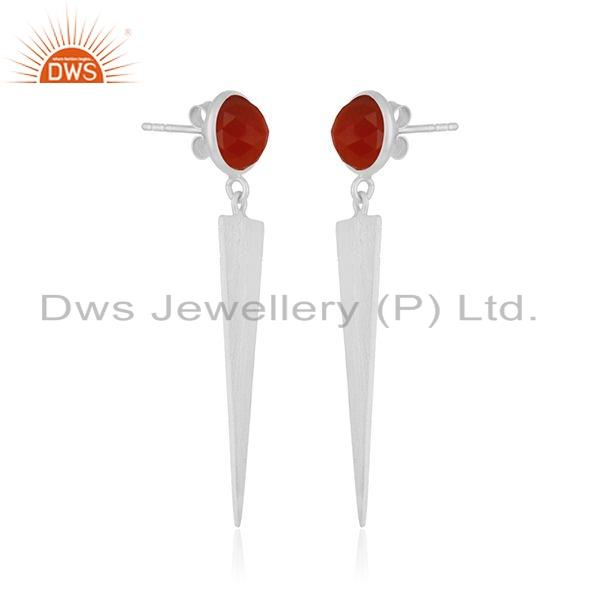 Exporter Indian 925 Silver Red Onxy Gemstone Womens Fashion Earrings Jewelry