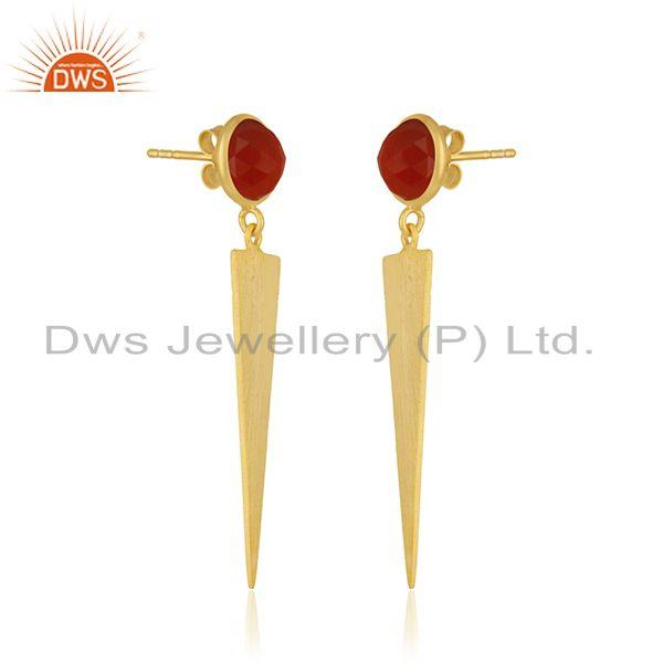 Exporter Red Onyx Gemstone Yellow Gold Plated Sterling Silver Earring Manufacturer INdia