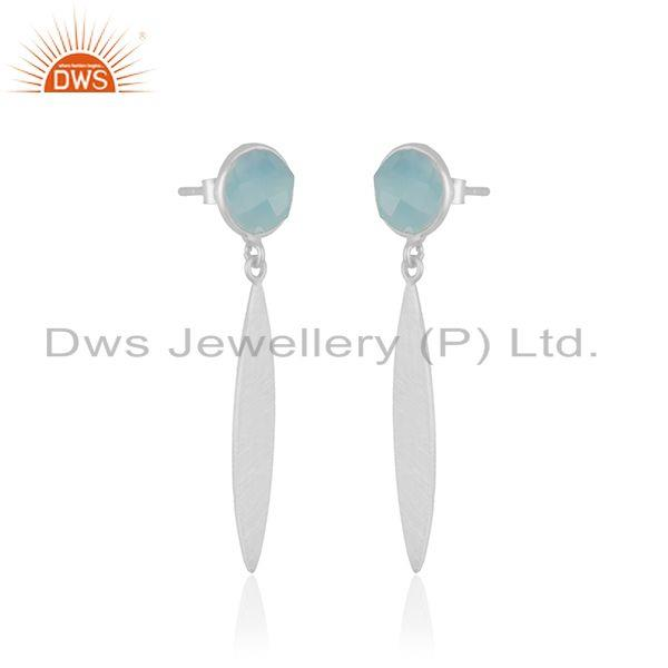Exporter Aqua Chalcedony Gemstone 925 Sterling Silver Dangle Earring Manufacturer India