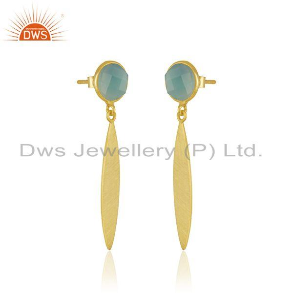 Exporter Handmade Sterling Silver Yellow Gold Plated Aqua Chalcedony Gemstone Earrings