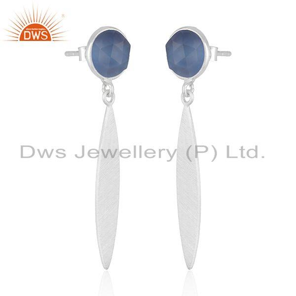 Exporter 925 Sterling Silver Blue Chalcedony Gemstone Dangle Earrings Jewelry