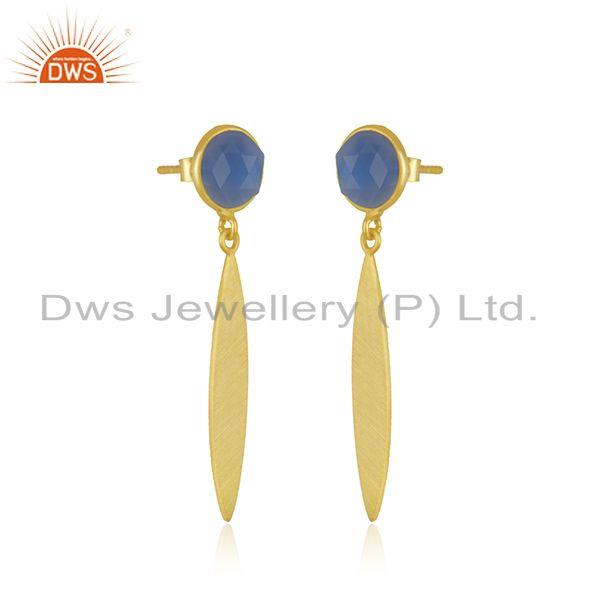 Exporter Blue Chalcedony Gemstone Gold Plated 925 Silver Dangle Earring Manufacturer