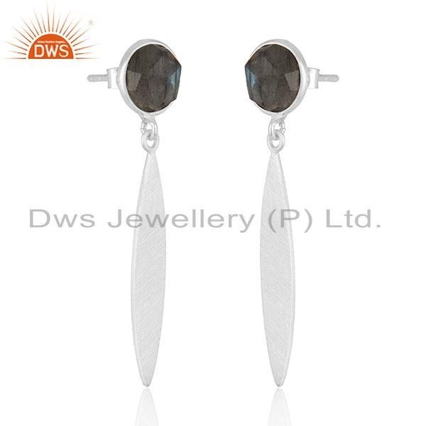 Exporter Girls Fine Silver Labradorite Gemstone Designer Earrings Jewelry Manufacturer