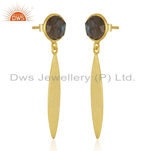 Exporter Natural Labradorite Yellow Gold Plated Silver Earrings Gemstone Jewelry
