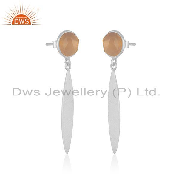 Exporter Rose Chalcedony Gemstone 925 Sterling Silver Earrings Manufacturer INdia
