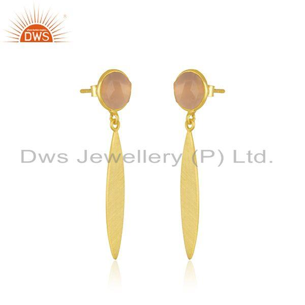Exporter Rose Chalcedony Gemstone 925 Silver GOld Plated Earrings Manufacturer India