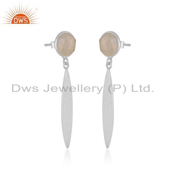 Exporter Rainbow Moonstone Handmade 925 Sterling Silver Earrings Wholesaler