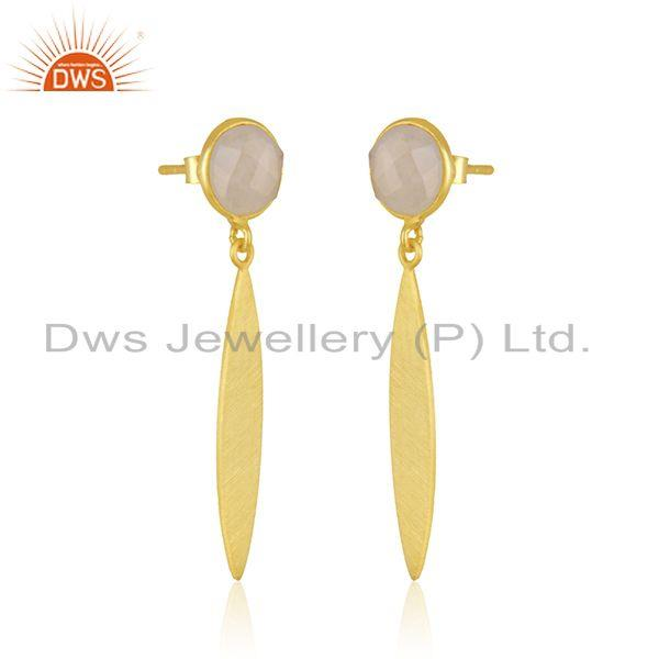 Exporter Rainbow Moonstone 925 Sterling Silver Gold Plated Earring Jewelry Manufacturer