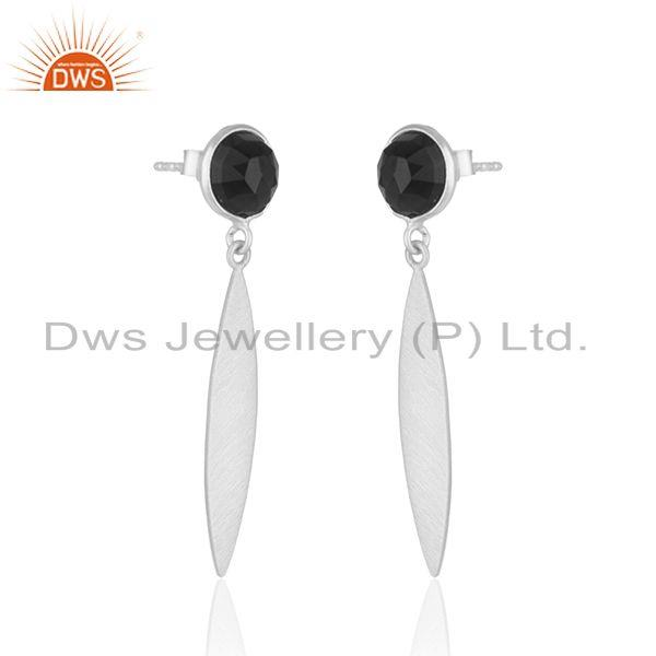Exporter Manufacturer Fine Silver Natural Black Onyx Gemstone Earrings Jewelry