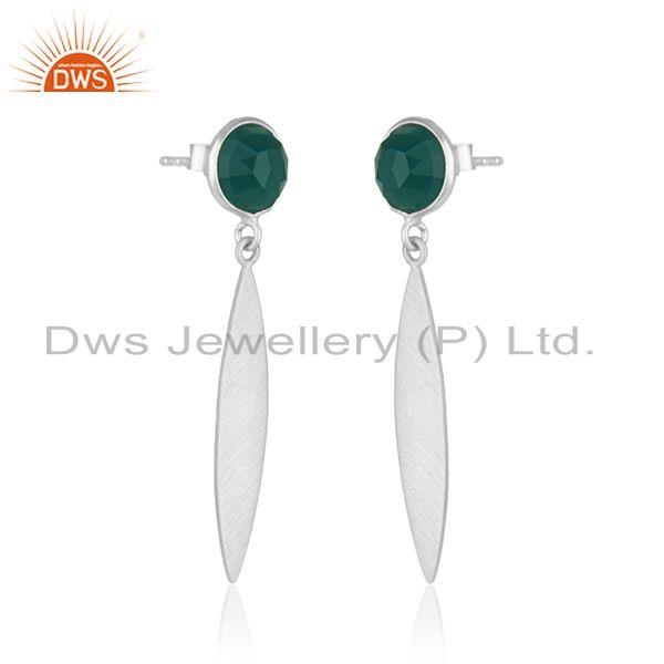 Exporter Indian Sterling SIlver Green Onyx Gemstone Designer Earring Jewelry