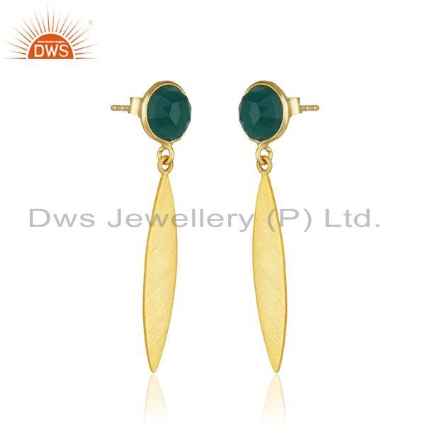 Exporter Yellow Gold Plated Silver Green Onyx Gemstone Earrings Jewelry