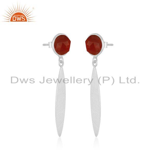 Exporter Natural Red Onyx Gemstone STerling Silver Handmade Earring jewelry Manufacturer