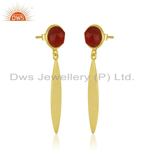 Exporter Red Onyx Gemstone Gold Plated 925 Silver Handmade Earrings Jewelry Manufacturer