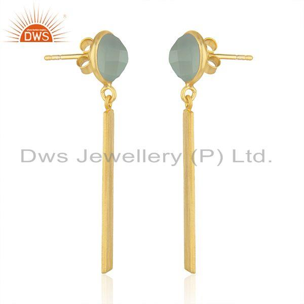 Exporter Yellow Gold Plated Silver Aqua Chalcedony Gemstone Earrings Jewelry Supplier