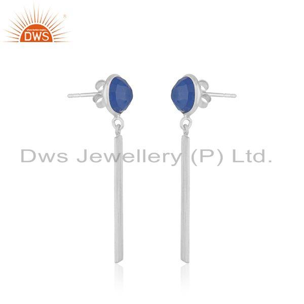 Exporter 925 Fine Sterling Silver Bar Blue Chalcedony Gemstone Earring Wholesale