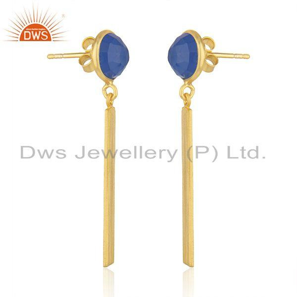 Exporter Natural Blue Chalcedony Gold Plated Silver Earrings Jewelry Wholesale