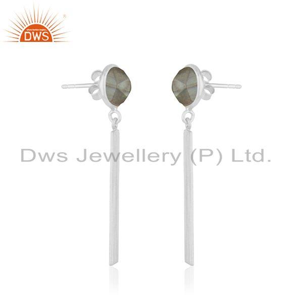 Exporter Labradorite Gemstone Fine Sterling Silver Dangle Earring Suppliers India