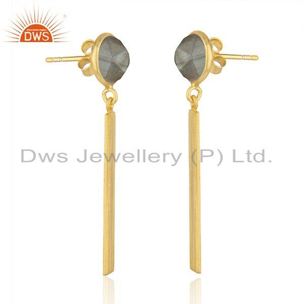 Exporter Manufacturer of Designer Gold Plated Silver Labradorite Earrings Jewelry