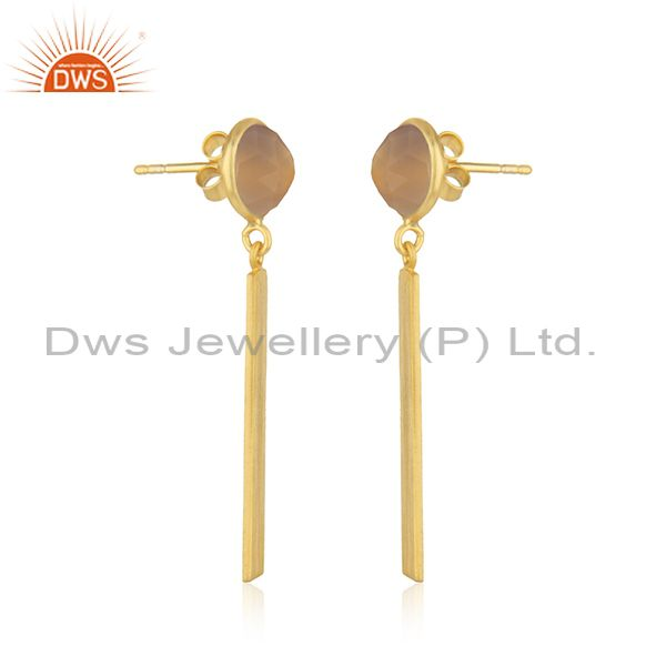 Exporter Rose Chalcedony Gemstone 925 Silver Gold Plated Bar Earring Manufacturer India