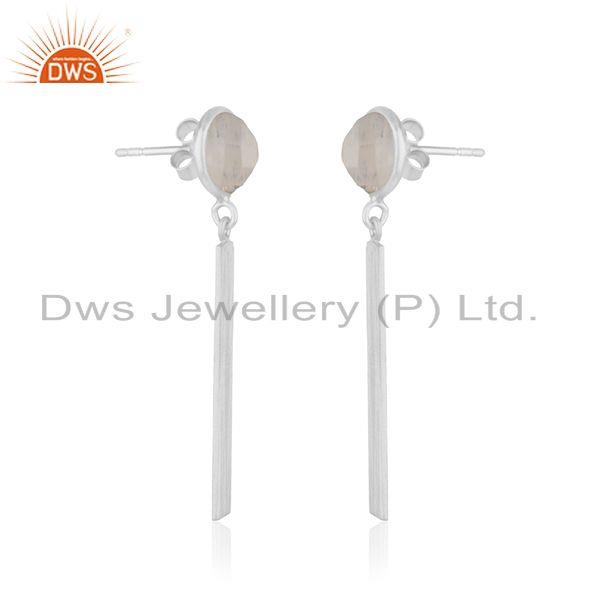 Exporter Rainbow Moonstone Fine Sterling Silver Bar Earring Manufacturer in Jaipur